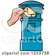 Clipart Of A Hand Inserting An Envelope In A Blue Post Box Royalty Free Vector Illustration