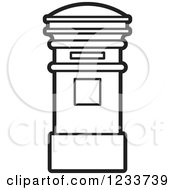 Clipart Of A Black And White Post Box Royalty Free Vector Illustration