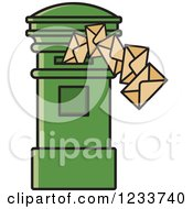 Clipart Of A Green Mailbox With Envelopes Royalty Free Vector Illustration
