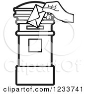 Clipart Of A Black And White Hand Inserting An Envelope In A Blue Post Box Royalty Free Vector Illustration