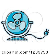 Clipart Of A Blue Electric Fan Royalty Free Vector Illustration