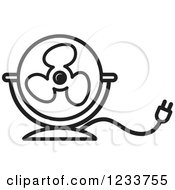 Clipart Of A Black And White Electric Fan Royalty Free Vector Illustration