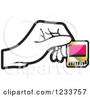 Clipart Of A Hand Holding A SD Flash Card 2 Royalty Free Vector Illustration
