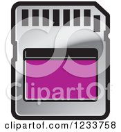 Clipart Of A Silver And Purple SD Flash Card Royalty Free Vector Illustration
