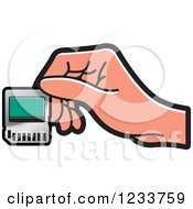 Clipart Of A Hand Holding A SD Flash Card Royalty Free Vector Illustration