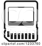 Clipart Of A Black And White SD Flash Card Royalty Free Vector Illustration