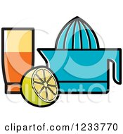 Clipart Of A Blue Squeezer Glass And Lemons Royalty Free Vector Illustration by Lal Perera