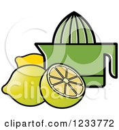 Clipart Of A Green Squeezer And Lemons Royalty Free Vector Illustration