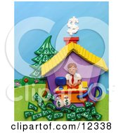 Clay Sculpture Clipart Man Working In His Home Office Royalty Free 3d Illustration by Amy Vangsgard