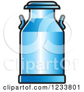 Clipart Of A Blue Milk Can Royalty Free Vector Illustration