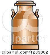 Clipart Of A Bronze Milk Can Royalty Free Vector Illustration