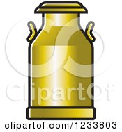 Clipart Of A Gold Milk Can Royalty Free Vector Illustration