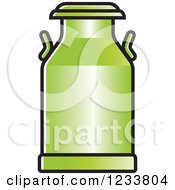 Clipart Of A Green Milk Can Royalty Free Vector Illustration