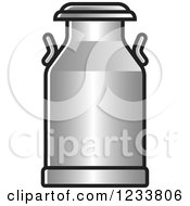 Clipart Of A Silver Milk Can Royalty Free Vector Illustration