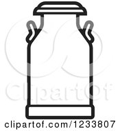 Clipart Of A Black And White Milk Can Royalty Free Vector Illustration