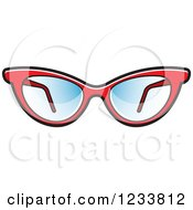 Clipart Of A Pair Of Stylish Red Eyeglasses Royalty Free Vector Illustration