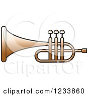 Clipart Of A Silver Trumpet 4 Royalty Free Vector Illustration