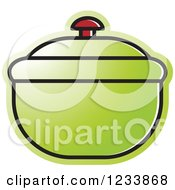 Clipart Of A Green Bowl With A Lid Royalty Free Vector Illustration