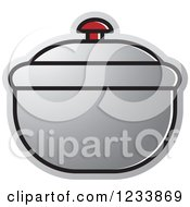 Clipart Of A Silver Bowl With A Lid Royalty Free Vector Illustration