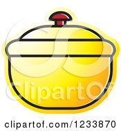 Clipart Of A Yellow Bowl With A Lid Royalty Free Vector Illustration