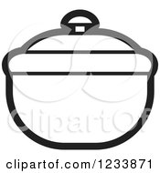 Clipart Of A Black And White Bowl With A Lid Royalty Free Vector Illustration