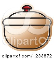 Clipart Of A Brown Bowl With A Lid Royalty Free Vector Illustration