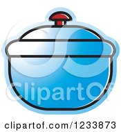 Clipart Of A Blue Bowl With A Lid Royalty Free Vector Illustration