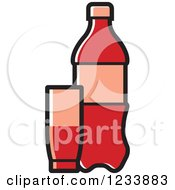 Clipart Of A Red Soda Bottle And Cups Royalty Free Vector Illustration
