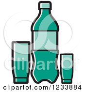 Clipart Of A Turquoise Soda Bottle And Cups Royalty Free Vector Illustration