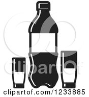 Clipart Of A Black And White Soda Bottle And Cups 2 Royalty Free Vector Illustration