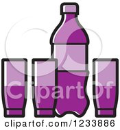 Clipart Of A Purple Soda Bottle And Cups Royalty Free Vector Illustration