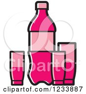 Clipart Of A Pink Soda Bottle And Cups Royalty Free Vector Illustration