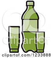 Clipart Of A Green Soda Bottle And Cups Royalty Free Vector Illustration