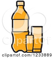 Clipart Of An Orange Soda Bottle And Cups Royalty Free Vector Illustration