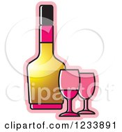 Clipart Of A Bottle And Pink Wine Glasses Royalty Free Vector Illustration