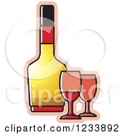Clipart Of A Bottle And Wine Glasses 2 Royalty Free Vector Illustration
