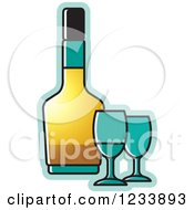 Clipart Of A Bottle And Turquoise Wine Glasses Royalty Free Vector Illustration