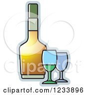 Clipart Of A Bottle And Wine Glasses Royalty Free Vector Illustration