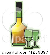 Clipart Of A Bottle And Green Wine Glasses Royalty Free Vector Illustration