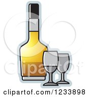 Clipart Of A Bottle And Gray Wine Glasses Royalty Free Vector Illustration