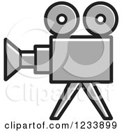 Clipart Of A Gray Movie Camera Royalty Free Vector Illustration by Lal Perera