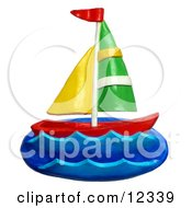 Clay Sculpture Clipart Sail Boat At Sea Royalty Free 3d Illustration by Amy Vangsgard