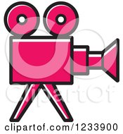 Clipart Of A Pink Movie Camera Royalty Free Vector Illustration by Lal Perera