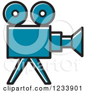 Clipart Of A Blue Movie Camera Royalty Free Vector Illustration by Lal Perera