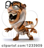 Clipart Of A 3d Bespectacled Tiger Mascot Roaring 2 Royalty Free CGI Illustration