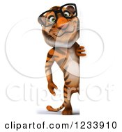 Clipart Of A 3d Bespectacled Tiger Mascot Looking Around A Sign Royalty Free CGI Illustration
