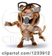Clipart Of A 3d Bespectacled Tiger Mascot Roaring Royalty Free CGI Illustration