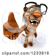Clipart Of A 3d Bespectacled Tiger Mascot Holding A Thumb Up Royalty Free CGI Illustration