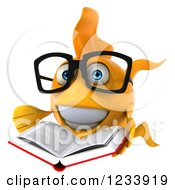 Clipart Of A 3d Bespectacled Goldfish Reading A Book 2 Royalty Free CGI Illustration