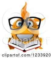 Clipart Of A 3d Bespectacled Goldfish Reading A Book Royalty Free CGI Illustration